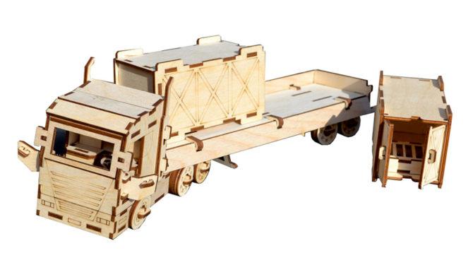 Конструктор «Грузовик с прицепом» + 2 контейнера 0