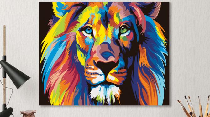 Картина по номерам на холсте 50х40 см. «Радужный лев» 0