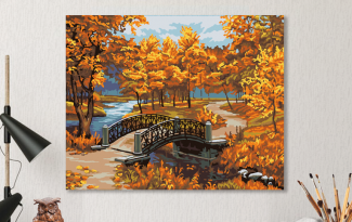 Картина по номерам на холсте 50х40 см. «В осеннем парке»