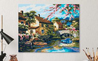 Картина по номерам на холсте 50х40 см. «Деревенька у канала»
