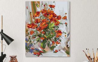 Картина по номерам на холсте 50х40 см. «Букет маков»