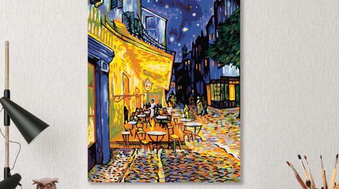 Картина по номерам на холсте 50х40 см. «Ночное кафе» Ван Гог 0