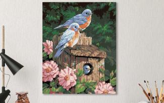 Картина по номерам на холсте 50х40 см. «Синешейки в саду»