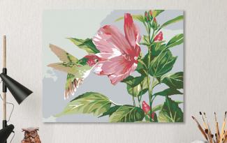 Картина по номерам на холсте 50х40 см.  «Гибискус и колибри»