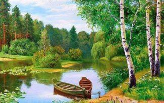 Картина по номерам на холсте 50х40 см. «Тихая речка»