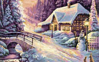 Картина по номерам на холсте 50х40 см. «Зима»