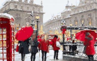 Картина по номерам на холсте 50х40 см. «Лондон в снегу»