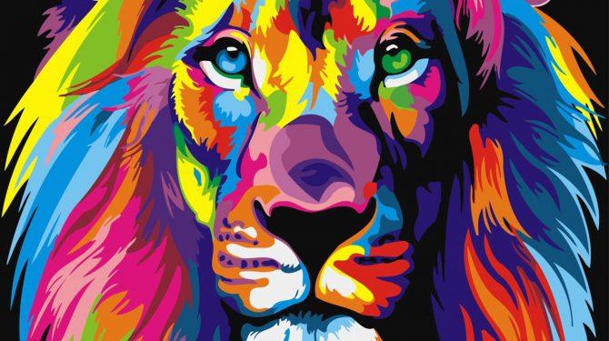 Картина по номерам на холсте 50х40 см. «Радужный лев»