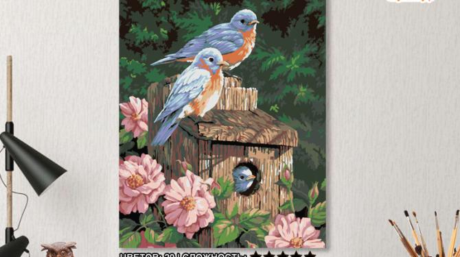 Картина по номерам на холсте 50х40 см. «Синешейки в саду» 0