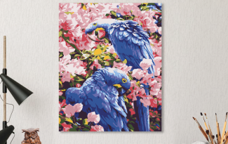 Картина по номерам на холсте 50х40 см. «Попугаи»