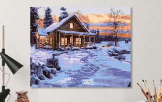Картина по номерам на холсте 50х40 см. «Избушка в лесу»