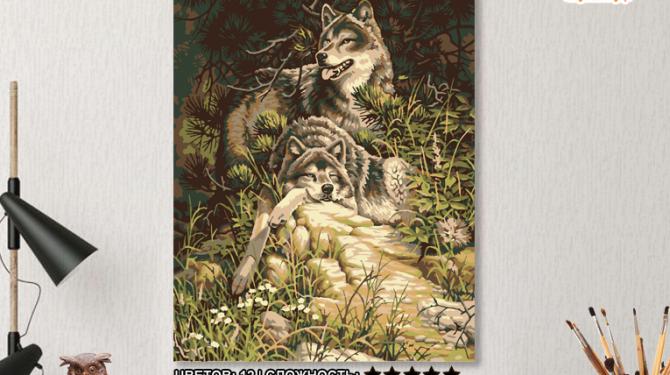 Картина по номерам но холсте 50×40 см. «Волки» 0
