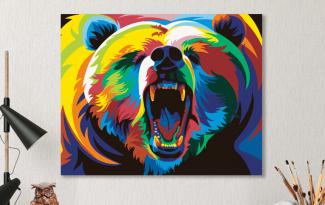 Картина по номерам на холсте 50х40 см. «Радужный медведь»