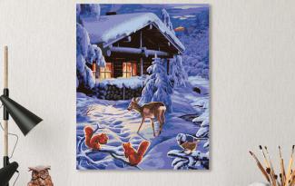 Картина по номерам на холсте 50х40 см.» Ночь зимней романтики»