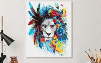 Картина по номерам на холсте 50х40 см. «Лев в цветах»