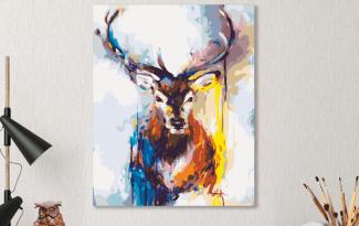 Картина по номерам на холсте 50х40 см. «Цветной олень»