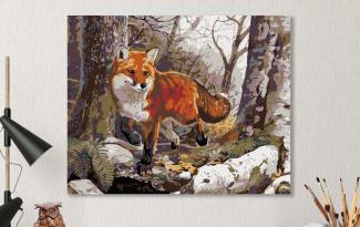 Картина по номерам на холсте 50х40 см. «Лиса в лесу»