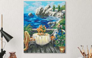 Картина по номерам на холсте 50х40 см. «Веранда на берегу»