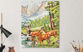 Картина по номерам на холсте 50х40 см. «Олени на водопое»