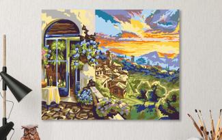 Картина по номерам на холсте 50х40 см. «Яркий закат»