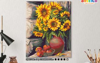 Картина по номерам на холсте 50х40 см. «Букет подсолнухов»