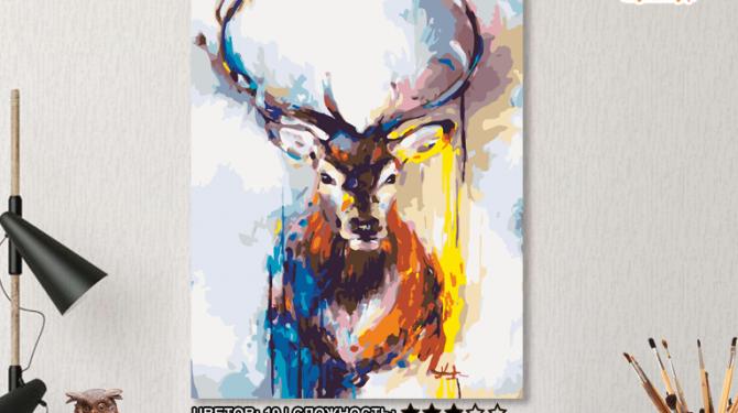 Картина по номерам на холсте 50х40 см. «Цветной олень» 0