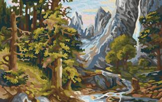 Картина по номерам на холсте 50х40 см. «Горный ручей»