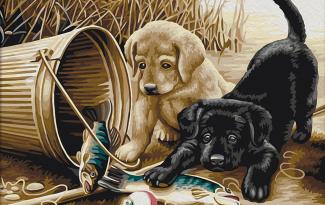 Картина по номерам на холсте 50х40 см. «Щенки на рыбалке»