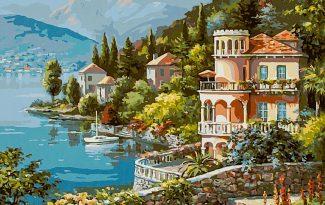 Картина по номерам на холсте 50х40 см. «Вилла на берегу озера»