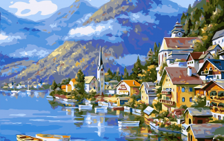 Картина по номерам на холсте 50х40 см. «Горная деревня»
