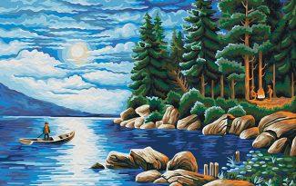 Картина по номерам на холсте 50х40 см. «Ночь в лесу»