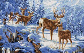 Картина по номерам на холсте 50х40 см. «Благородные олени»
