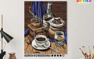 Картина по номерам на холсте 50х40 см. «кофейный набор»