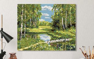 Картина по номерам на холсте 50х40 см. «Березовая роща»
