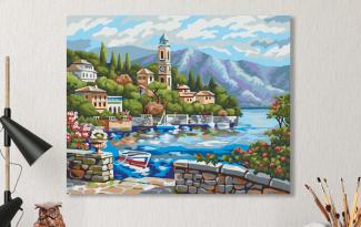 Картина по номерам на холсте 50х40 см.  «Часовня у моря»