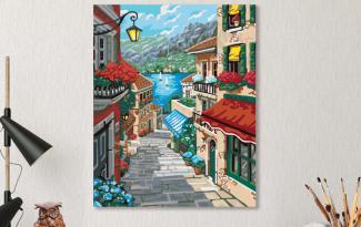 Картина по номерам на холсте 50х40 см. «Приморский городок»