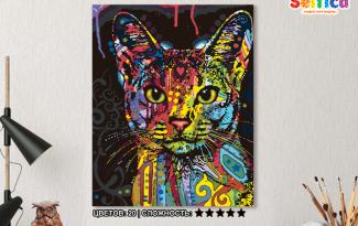 Картина по номерам на холсте 50х40 см. «Абиссинская кошка»