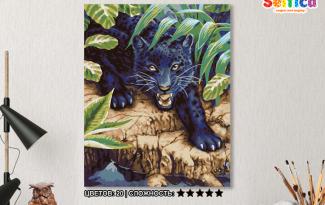 Картина по номерам на холсте 50х40 см.  «Черный леопард»