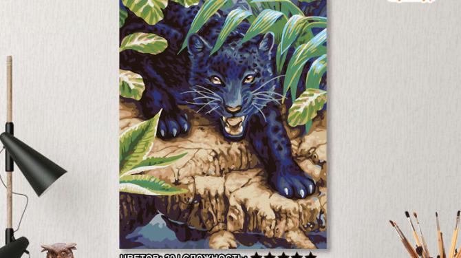 Картина по номерам на холсте 50х40 см.  «Черный леопард» 0