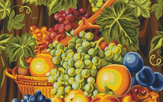 Картина по номерам на холсте 50х40 см. «Сочный виноград»