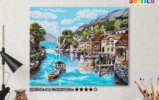 Картина по номерам на холсте 50х40 см. «Лодки у причала»