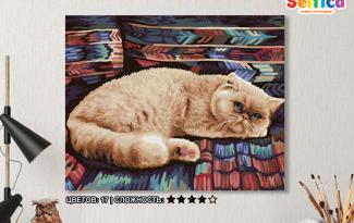 Картина по номерам на холсте 50х40 см. «Персидский кот»