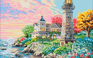 Картина по номерам на холсте с подрамником 50х40 см.  «Утром на побережье»