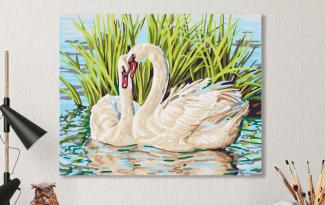 Картина по номерам на холсте с подрамником 50х40 см. «Лебединая пара»