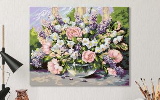 Картина по номерам на холсте с подрамником 50х40 см. «Садовый букет»