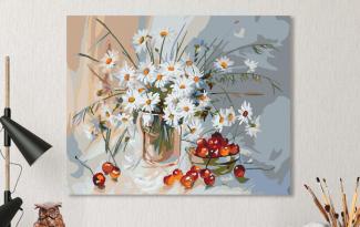 Картина по номерам на холсте с подрамником 50х40см. «Ромашки и черешня».