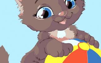 Картина по номерам на холсте с подрамником 20х15 см. «Котенок с мячом»