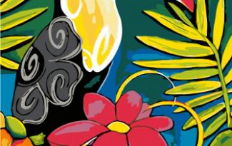 Картина по номерам на холсте с подрамником 20х15 см. «Тукан»