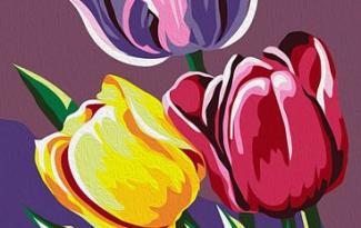 Картина по номерам на холсте с подрамником 20х15 см. «Тюльпаны»