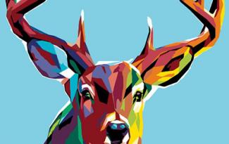 Картина по номерам на холсте с подрамником 20х15 см. «Цветной олень»